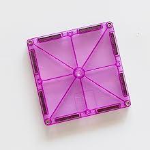 Translucent vibrant purple Magna-Tile magnetic tile against  a white background