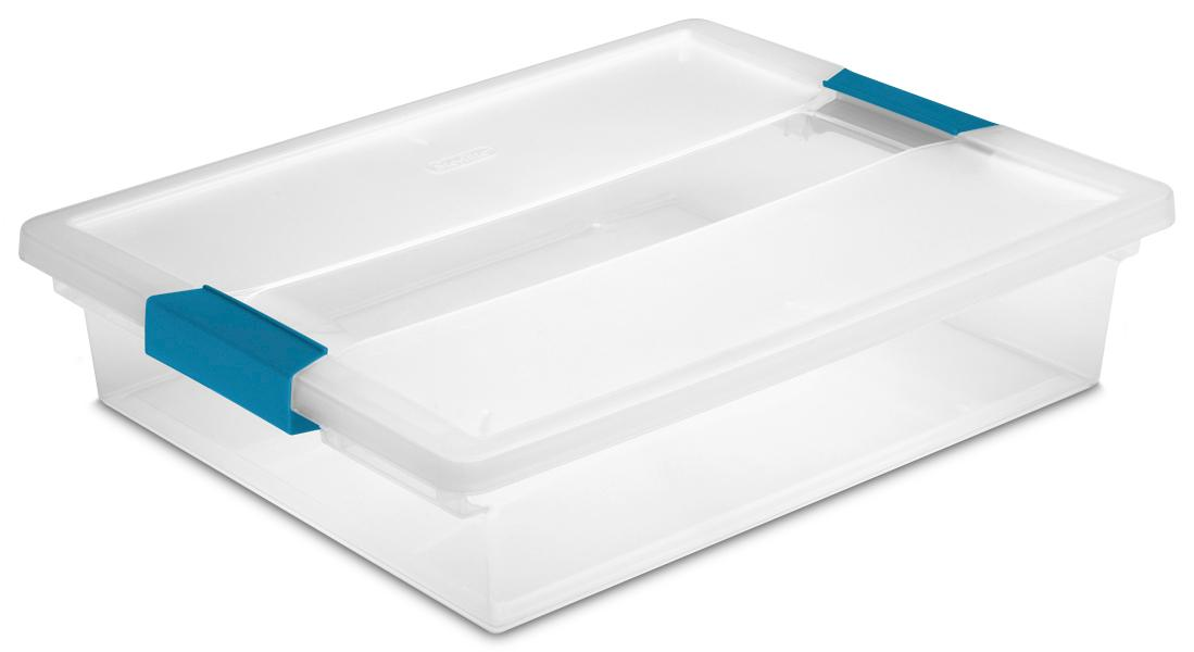 Amazon.com: STERILITE 19638606 Large Clip Box, Clear with Blue ...