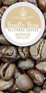Highland Park Coffee Single Serve pods Keurig K cup Flavored Vanilla Bean Medium Roast premium cafe
