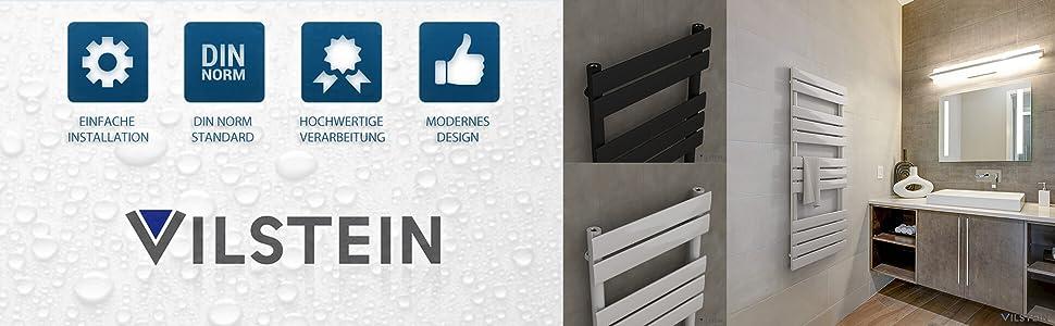 Seitenanschluss und Mittelanschluss Flach Schwarz VILSTEIN Badheizk/örper 800x450 mm