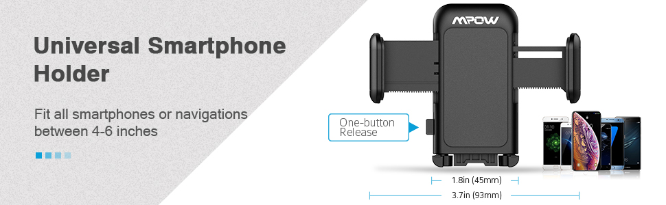Mpow 051 Car Phone Mount, CD Slot Car Phone Holder, Car Mount with  Three-Side Grips and One-Touch Design Compatible iPhone Xs  MAX/XR/XS/X/8/8Plus,