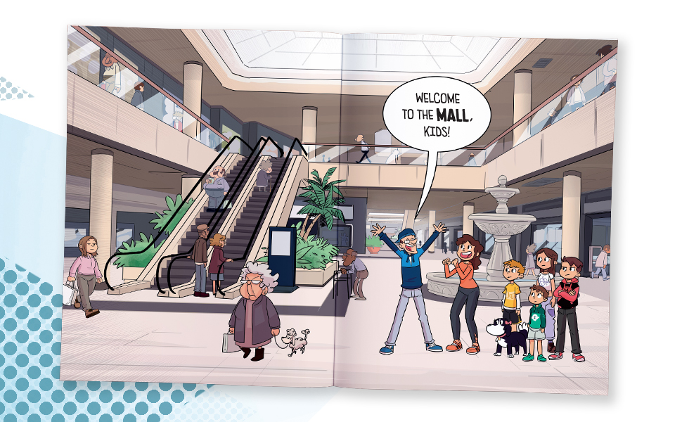mall, family, comic, graphic novel