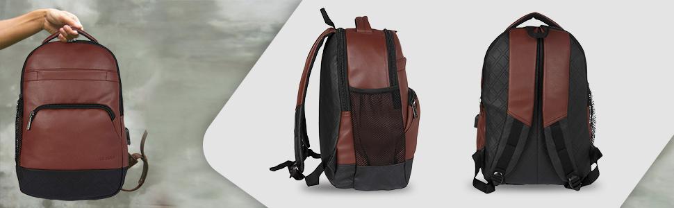 Fur Jaden Mature Bag Leather Laptop USB Charging Backpack