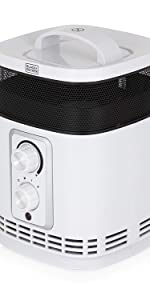 Black and Silver BLACK+DECKER BXSH37003GB Lightweight Portable Ceramic Fan Heater with 2 Heat Setting and Cool Blow Function 2000 W