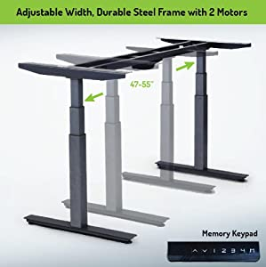 Adjustable Height Width Electric Standing Desk Stand Up Office Desk Frame 2  Motors