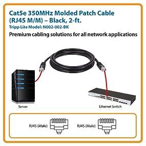 10ft RJ45 Cat5e 350MHz Molded Patch Cable Black
