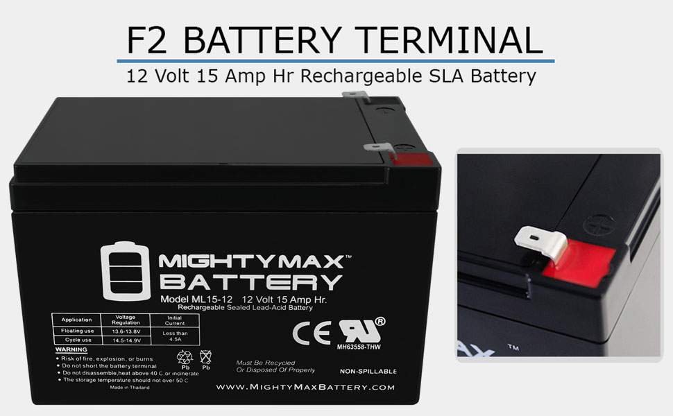Mighty Max Battery ML15-12 12V 15AH F2 UPS Battery for Opti 1400ES 10 Pack Brand Product