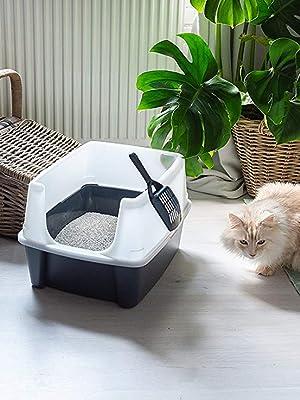 caja de arena abierta para gatos de plástico vendida con una pala a juego por Iris Ohyama