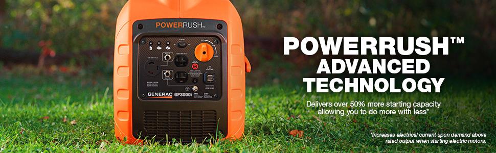 Generac GP3000i, GP3000i, PowerRush technology, PowerRush, inverter, inverter generator, power