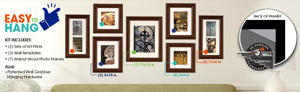 Gallery perfect 7 piece walnut wood photo for Picture hanging template kit