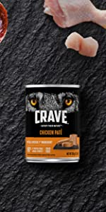 Crave Adult Wet Dog Food Chicken, 1st Ingredient Real Chicken, Poultry, Canned, Cans, Pate