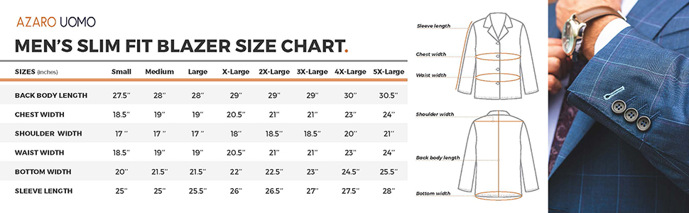 Azaro Uomo Blazer size chart