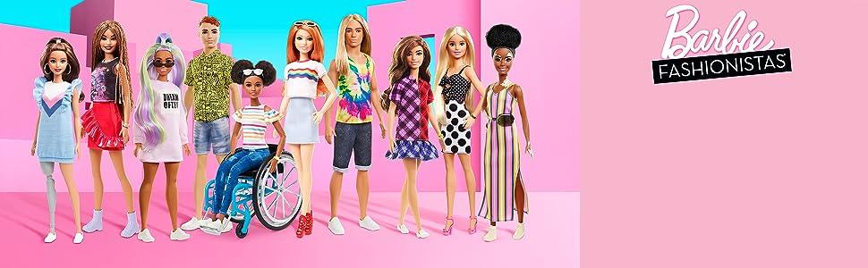 Amazon.es: Barbie Fashionista - Muñeca con pelo rosa y vestido de ...