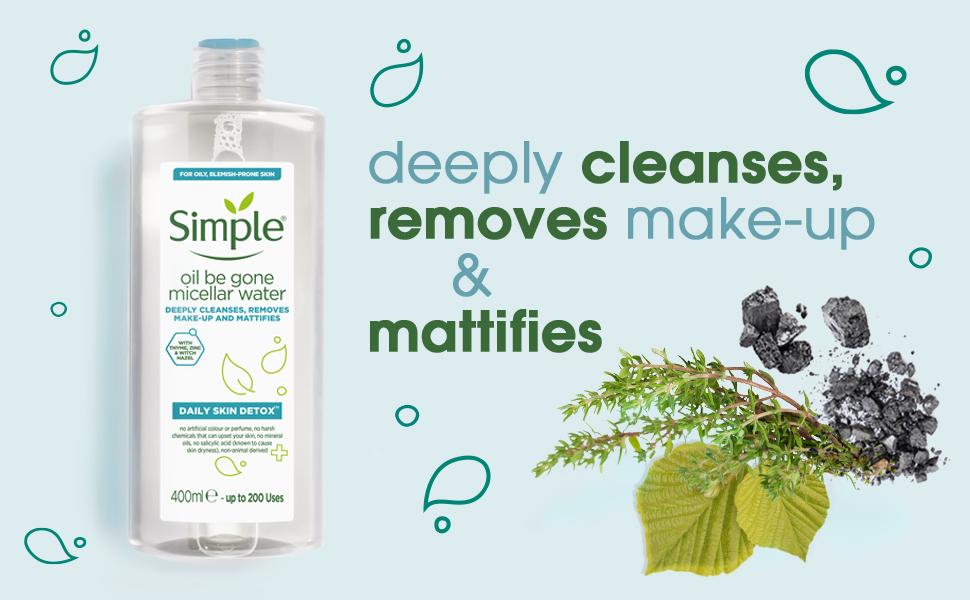 Simple Daily Skin Detox Oil Be Gone Micellair Water reinigt, verwijdert make-up & matteert