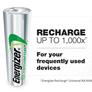 Recharge up to 1000 times, Universal, For your frequent used devices, AA, AAA, Wristwatch