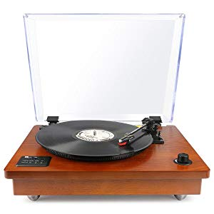 1byone Vintage Wooden Turntable