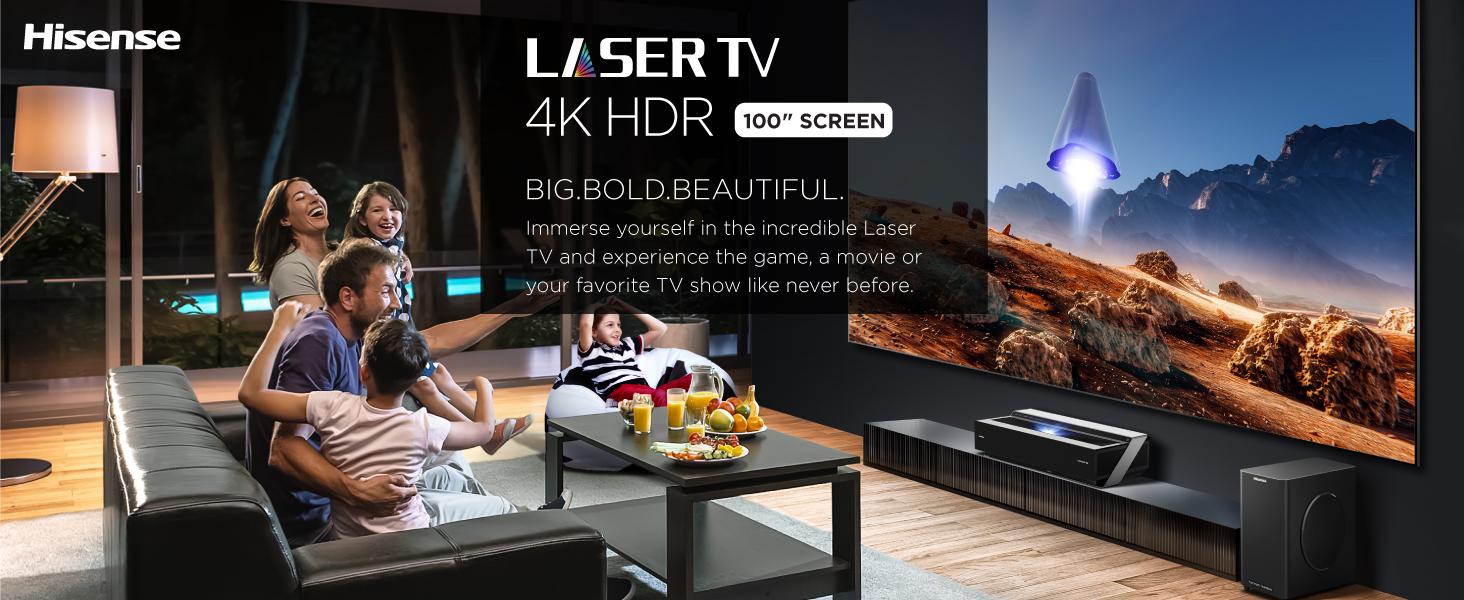 100 inch screen Laser TV, 4K HDR
