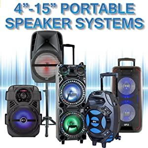 """QFX Bluetooth Portable Party Speaker PA 4"""" 6"""" 8"""" 10"""" 12"""" 15"""" inch 4 6 8 10 12 15 dual wheels handle"""