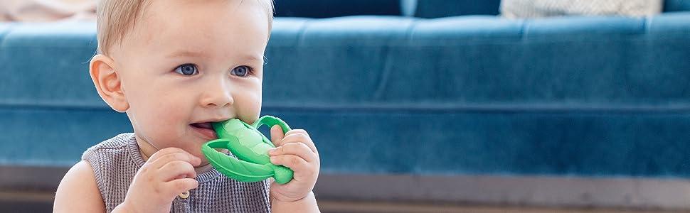infantino teethers, lil nibblers, teething, silicone teether, teethers, pea pod