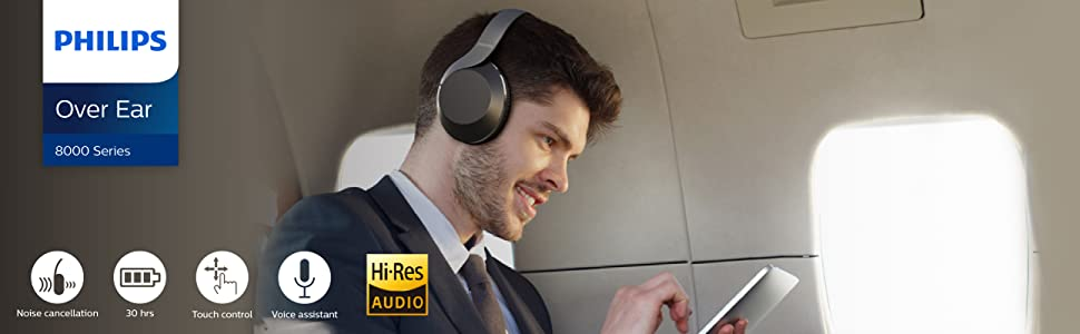Amazon.com: Philips Active Noise Canceling Over Ear Wireless Bluetooth  Performance Headphones PH805 with Hi-Res Audio, up to 30 Hours of Playtime  (TAPH805BK): Electronics