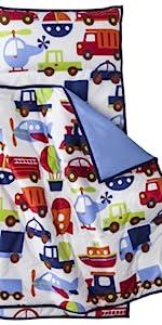 Bacati - 100% Cotton Fabrics Nap Mat with Pillow for Toddler Boys
