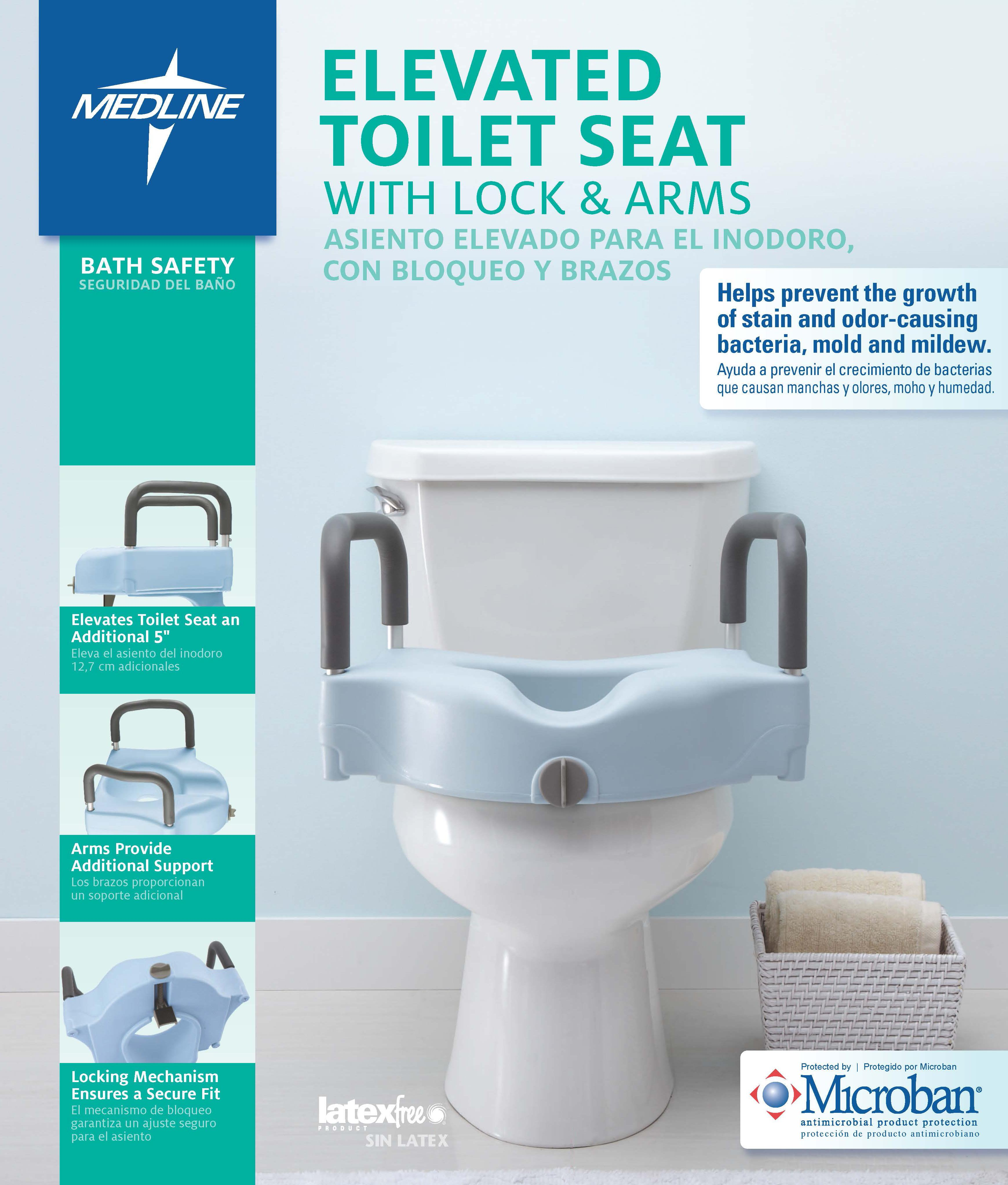 Amazon.com: Medline Locking Elevated Toilet Seat with Arms ...