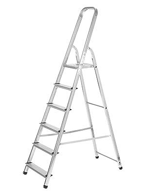 Escaleras Plegables Aluminio 6 Peldaños de Tijera Super Resistente hasta 150Kg, Acero y Aluminio Antideslizantes, Altura de Trabajo hasta 310cm - Packer PRO: Amazon.es: Bricolaje y herramientas