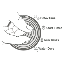 timer, controller, dial, adjustment, grass, turf, watering, clock