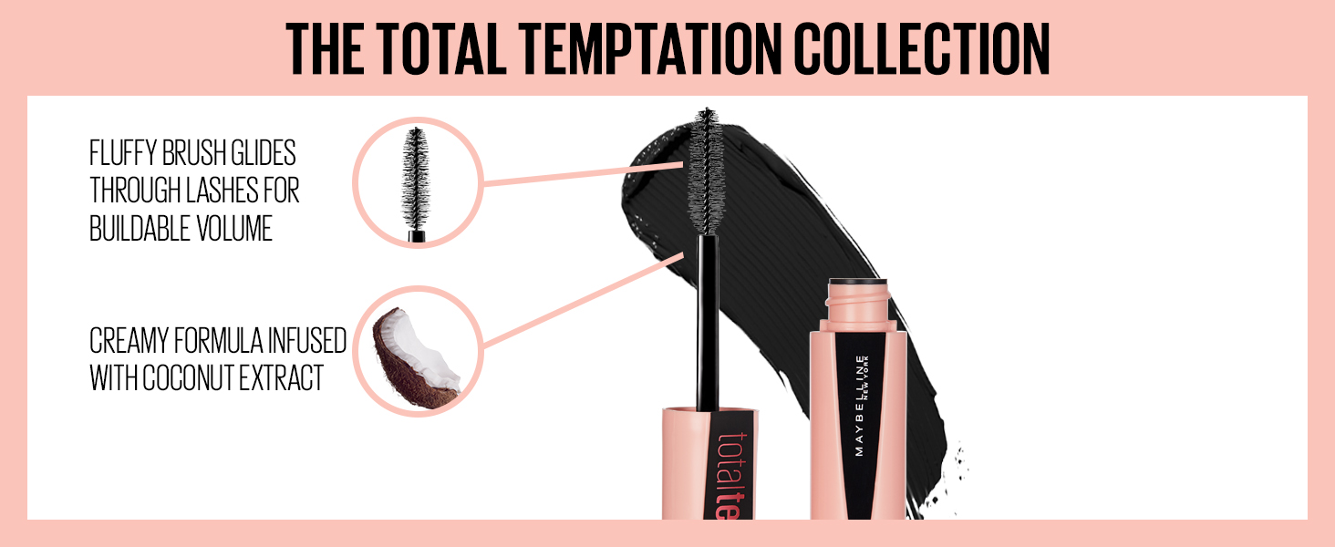 Fluffy brushes glides through lashes for buildable volume; creamy formula infused with coconut