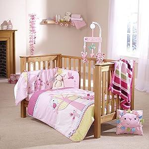 Clair de lune, lottie and squeek, pink cot bedding, cot bedding, character cot bedding, cot bed