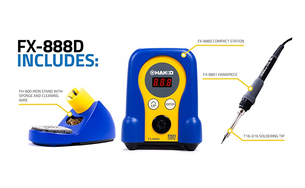 Hakko FX-888D Includes 1  FX-888D Compact Station, 1 FH-800 Iron Stand, and 1 T18-D16 Soldering Tip