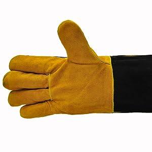 BLACK COW LEATHER Fire Glove perfetto per barbecue Log Burner o Fire Pit