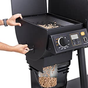 pellet;hopper;high;hi;capacity;20;lb;pound;drain;remove;temp;temperature;control;oven;cast;iron;gray
