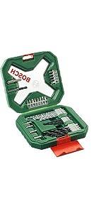 Bosch; Bricolaje; maletines; puntas; brocas; atornillar; taladrar; sets; accesorios; equipado; x-lin