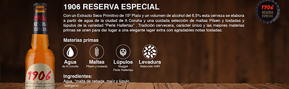 1906 Reserva Especial Cerveza - Pack de 24 botellas x 33 cl