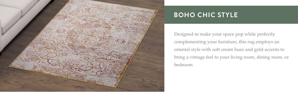 oriental rug boho chic rug vintage looking rug