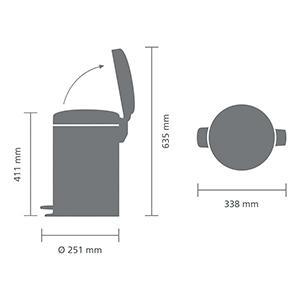 Brabantia Newicon-Cubo de Basura con Pedal, 12 L, Color Blanco, 12 l