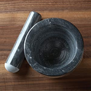 """4"""" mortar and pestle; 4"""" marble mortar and pestle; 4"""" black marble mortar and pestle; black marble"""