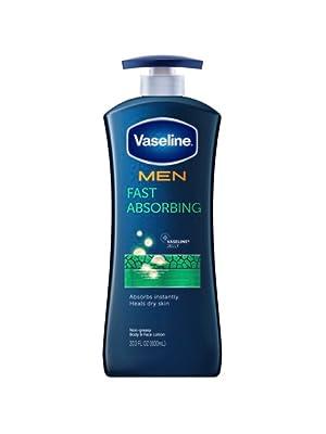 Vaseline Men Healing Moisture Fast Absorbing Lotion for Dry Skin, 20.3 Fluid Ounces, 3 Count