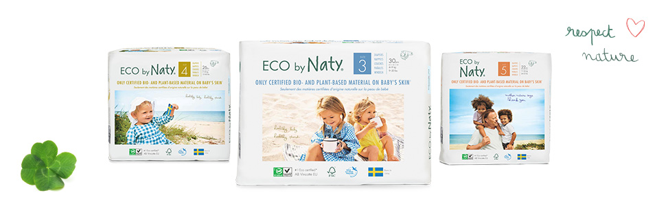 eco by naty ecological diaper natural material on baby's skin biodegradable diapers healthy for baby