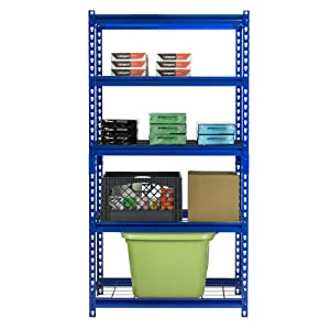 Boltless shelving, blue industrial shelving, heavy duty shelves, wire decking, wire shelving