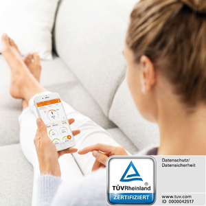 """Overdracht naar de """"beurer HealthManager""""-app met door TÜV gecertificeerde gegevensbeveiliging."""