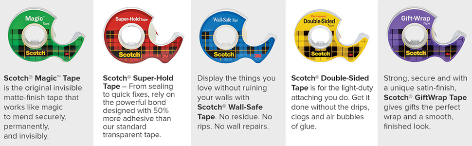 Scotch Tape: Magic Tape, Super-Hold Tape, Wall Safe Tape, Double-sided Tape, Scotch GiftWrap Tape