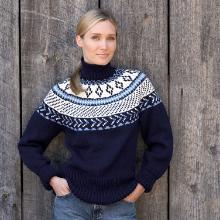 Bernat Super Value Yarn Fair Isle Yoke Pullover Sweater