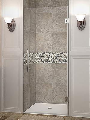 Aston Cascadia Sdr995 34 X 72 Completely Frameless Hinged Shower Door Brushed Stainless Steel Amazon Com