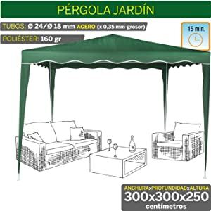 Aktive - Cenador de 300 x 300 x 250 cm, plástico, color blanco (ColorBaby 53857): Amazon.es: Jardín