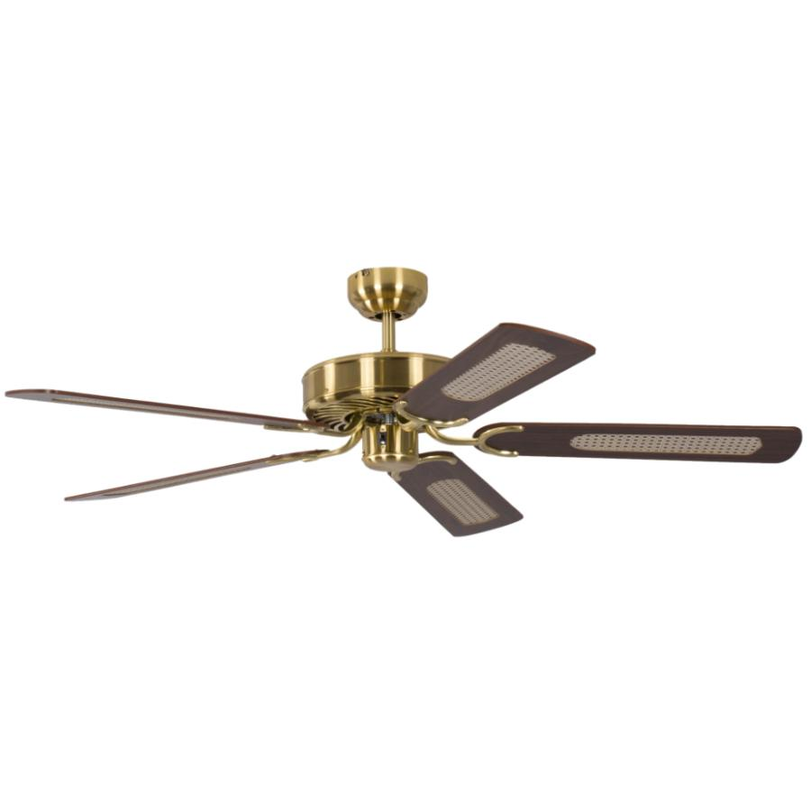 potkuri 52 inch 132 cm reversible ceiling fan without lights in satin brass with white blades. Black Bedroom Furniture Sets. Home Design Ideas