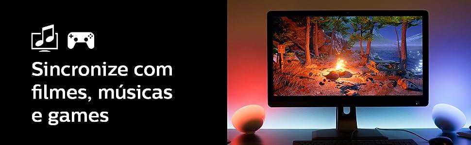 Hue Go, Philips, lampada Philips, Games, filmes, musica, jogos, tv, video, luz inteligente