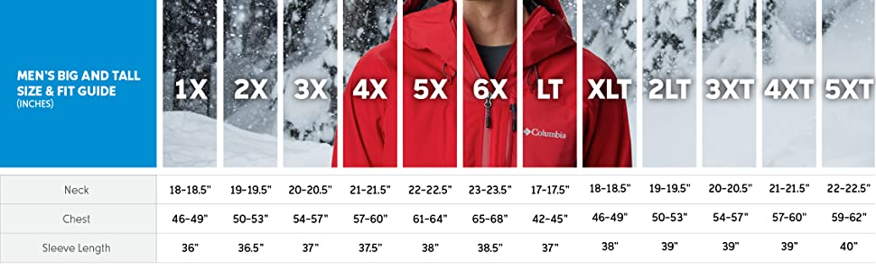 Men's winter jacket big and tall size and fit guide
