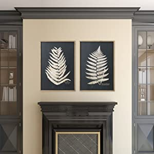 black and white leaf pictures framed